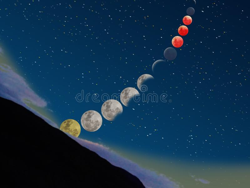 Super blue blood moon eclipse sequence rising from a mountain stock photo