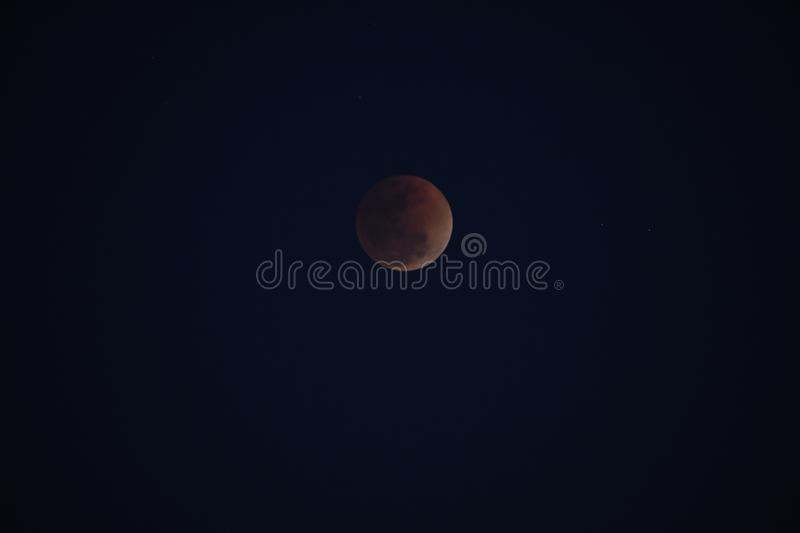 Super blue blood moon and lunar eclipse stock photo
