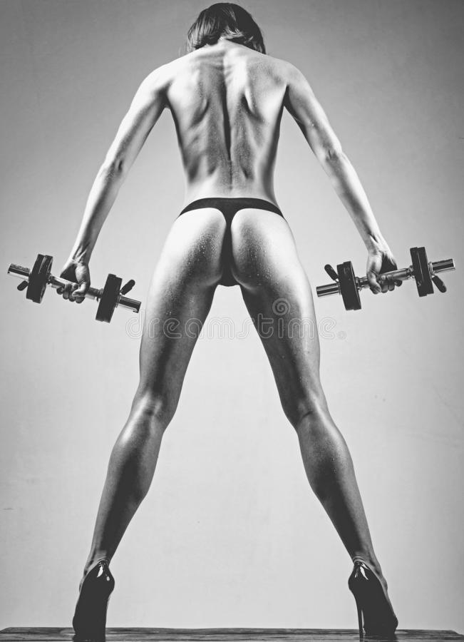 Super body. Sporty female athlete doing fitness workout. Beautiful slim woman`s body. Muscular female body. royalty free stock image