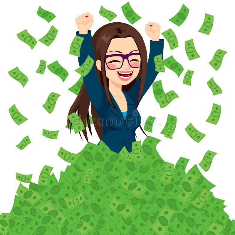 Super Bogaty Pomyślny bizneswoman ilustracja wektor