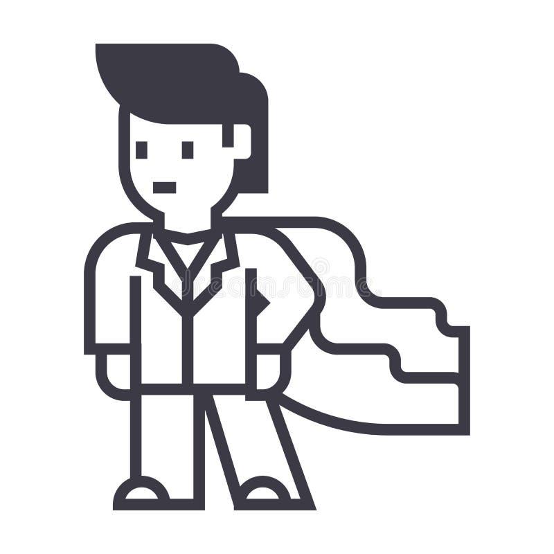 Super bohater, biznesmen, biznesowa wektor linii ikona, znak, ilustracja na tle, editable uderzenia ilustracja wektor