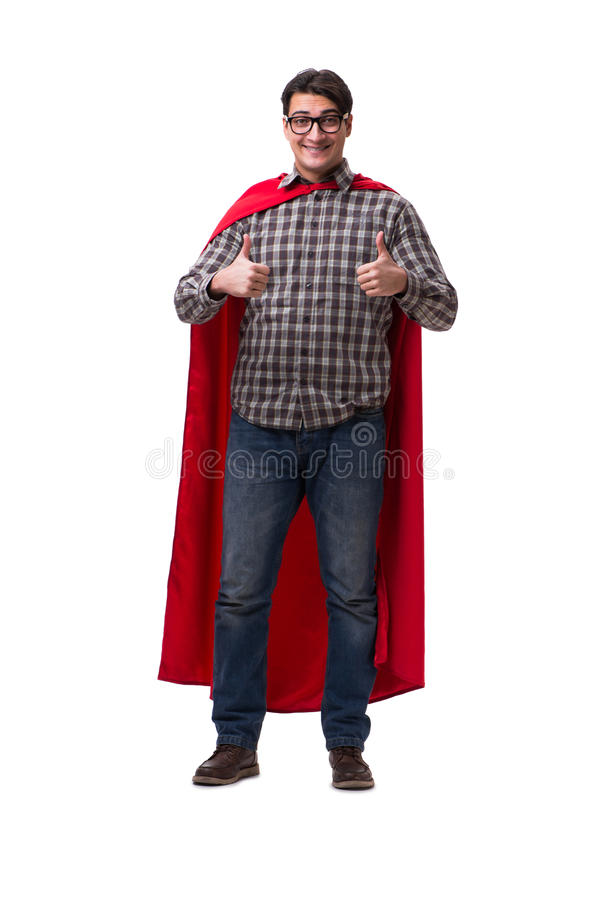 Super bohater jest ubranym czerwieni pokrywę na bielu fotografia royalty free