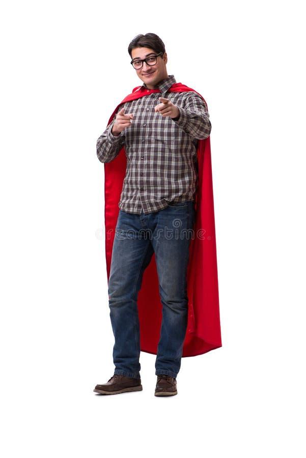 Super bohater jest ubranym czerwieni pokrywę na bielu fotografia stock
