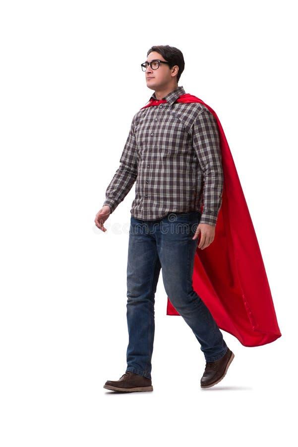 Super bohater jest ubranym czerwieni pokrywę na bielu zdjęcia stock
