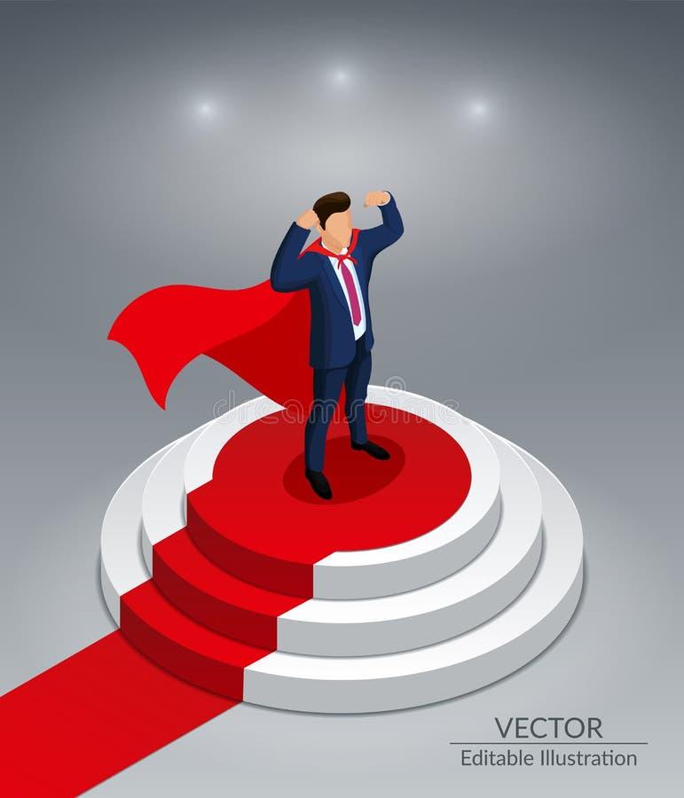 Super bohatera biznesmena stojaki na round podium z czerwonym chodnikiem Nagradza? ceremoni? Ilustracja Wektorowa Ilustracja royalty ilustracja
