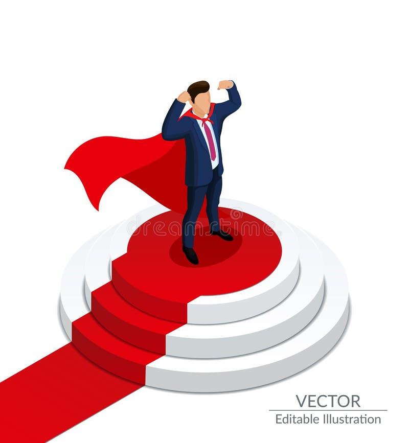 Super bohatera biznesmena stojaki na round podium z czerwonym chodnikiem Nagradza? ceremoni? Ilustracja Wektorowa Ilustracja ilustracja wektor