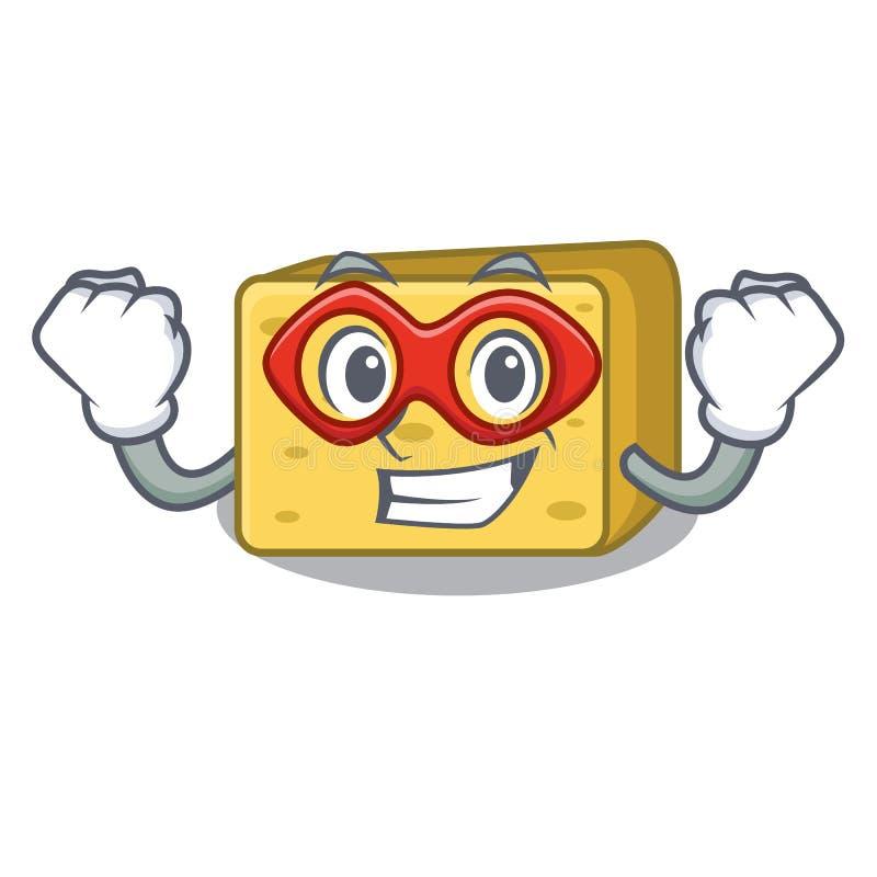 Super bohatera charakteru gouda świeży ser ilustracja wektor