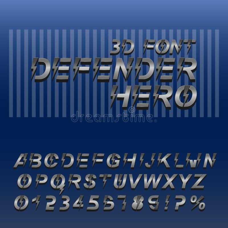 Super bohatera chrzcielnica 3D abecadła liczby w kruszcowych kolorach i listy ilustracji