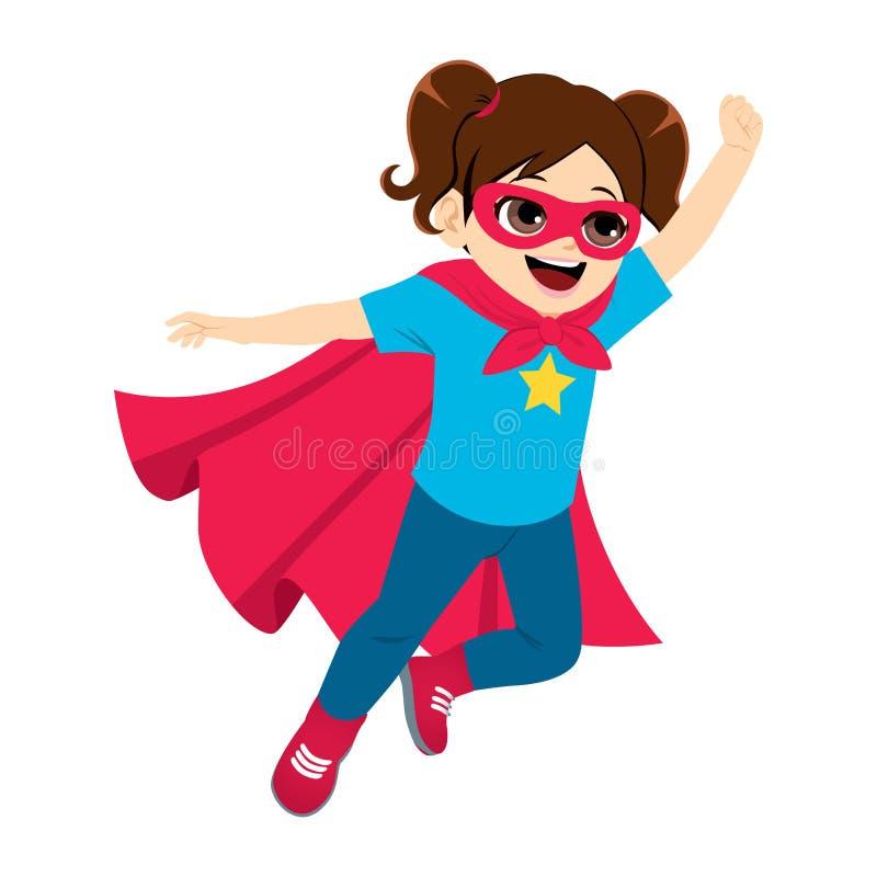 Super bohatera małej dziewczynki latanie ilustracja wektor