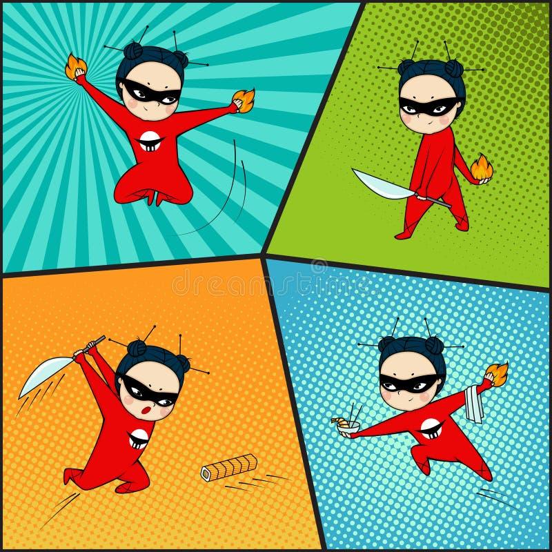 Super bohatera set, szef kuchni japońska kuchnia ilustracja wektor