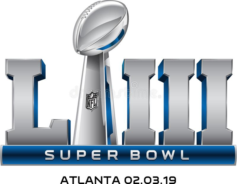 Super bowl LIII logo vector. The Super Bowl is the annual championship game of the National Football League. The game is the culmination of a regular season that