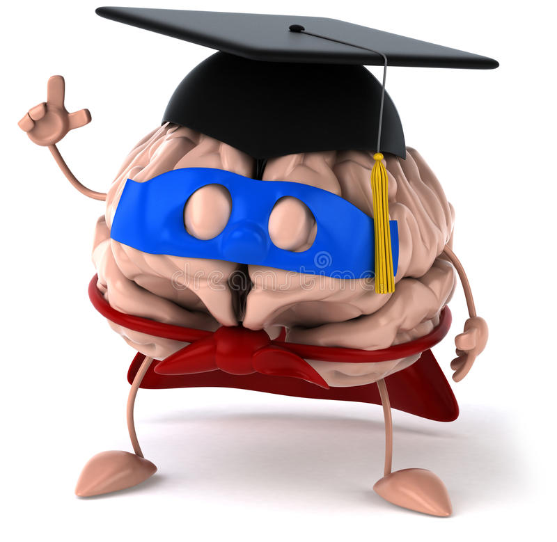 Super brain. Fun brain, 3d generated picture royalty free illustration