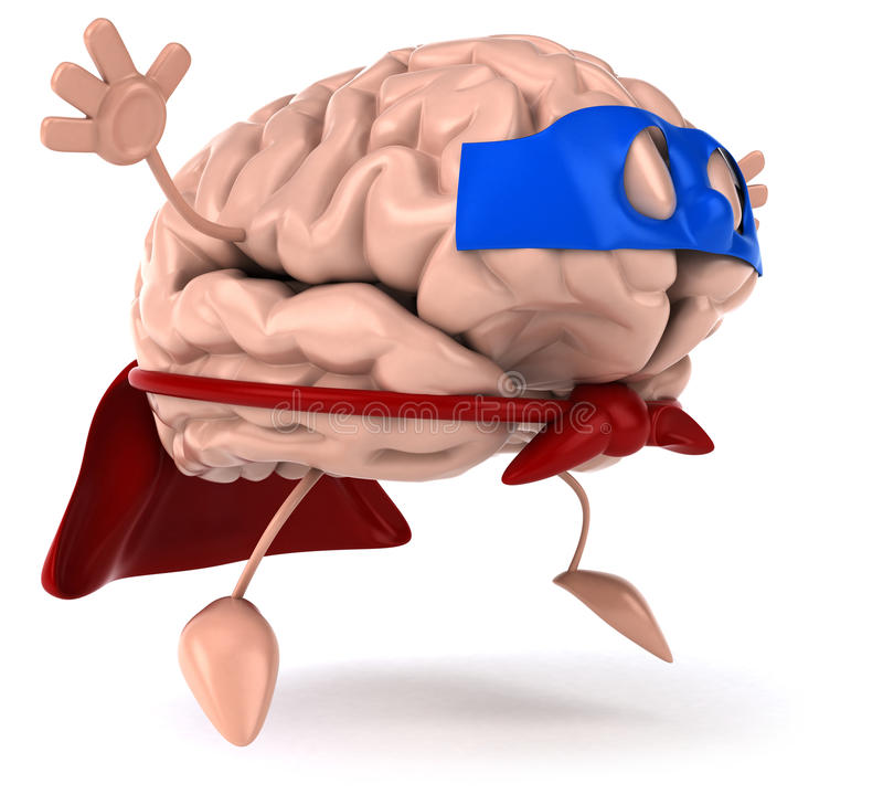 Super brain. Fun brain, 3d generated picture stock illustration