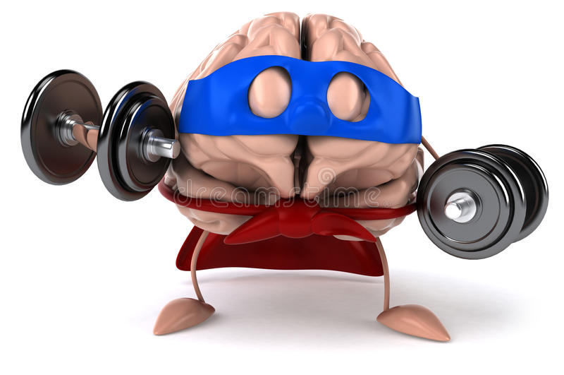 Super brain. Fun brain, 3d generated picture stock illustration