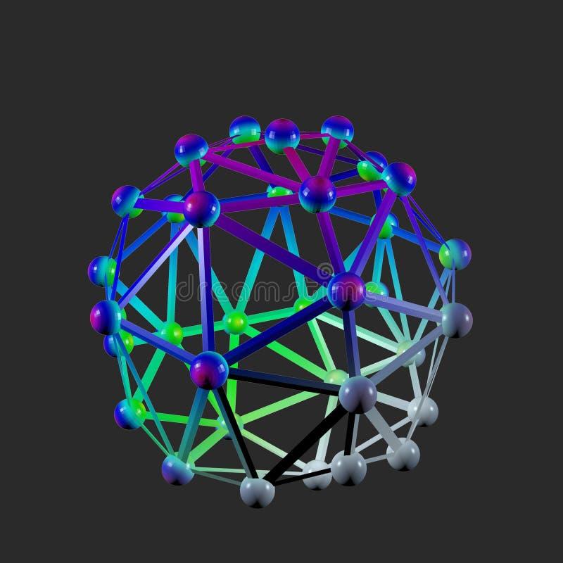 Super buckyball molecule on dark background, artwork of nanotechnology royalty free illustration