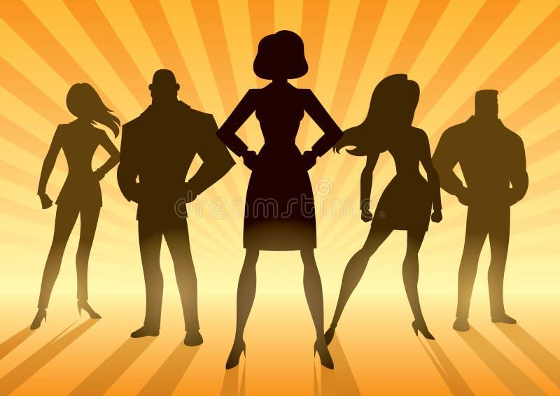 Super Business Team. Conceptual illustration depicting business team with female leader or manager stock illustration