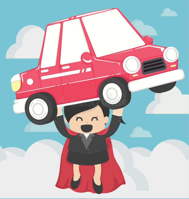 Super Business woman carrying car.Concept Car loans vector illustration