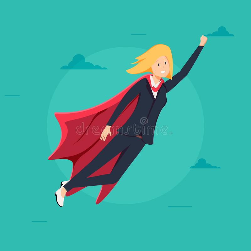 Super Business Woman with Red Cape Character Vector. Leadership Concept. Creative Modern Business Super Woman. Flying To Success. Isolated Flat Cartoon royalty free illustration