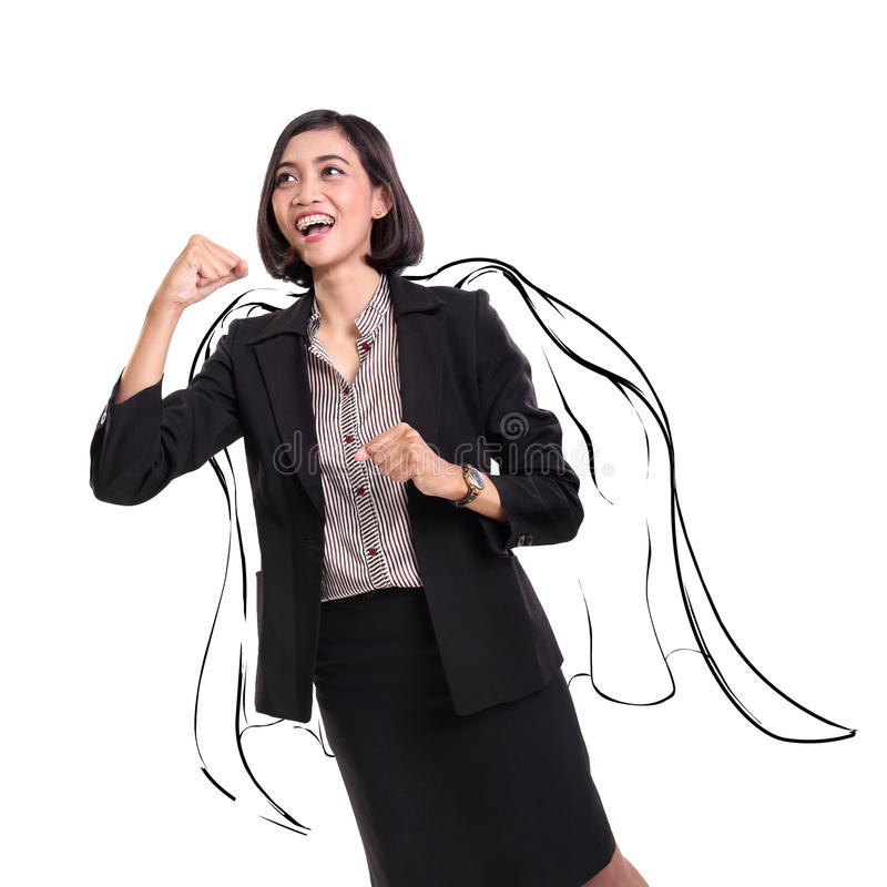 Super business woman sketch stock image