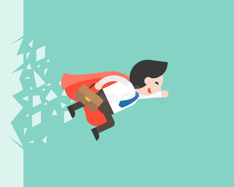 Super Businessman flying through a glass, business situation. Vector stock illustration