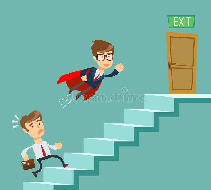 Super businessman in red cape flying pass another businessman climbing stairs. Business competition concept. stock illustration