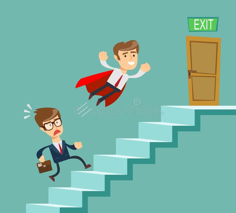 Super businessman in red cape flying pass another businessman climbing stairs. Business competition concept. royalty free illustration