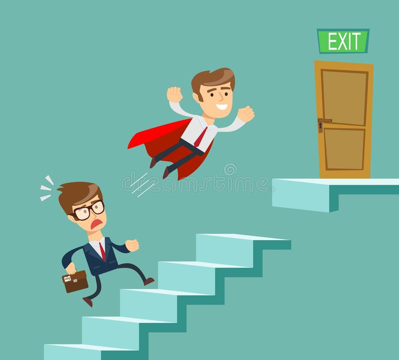 Super businessman in red cape flying pass another businessman climbing stairs. stock illustration