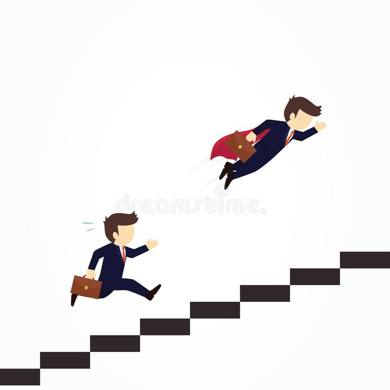 Super businessman in red cape flying pass another businessman climbing stairs. Vector illustration business concept royalty free illustration