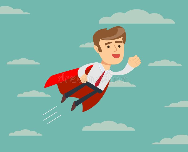 Super Businessman in Red Cape Flying to Success. stock illustration