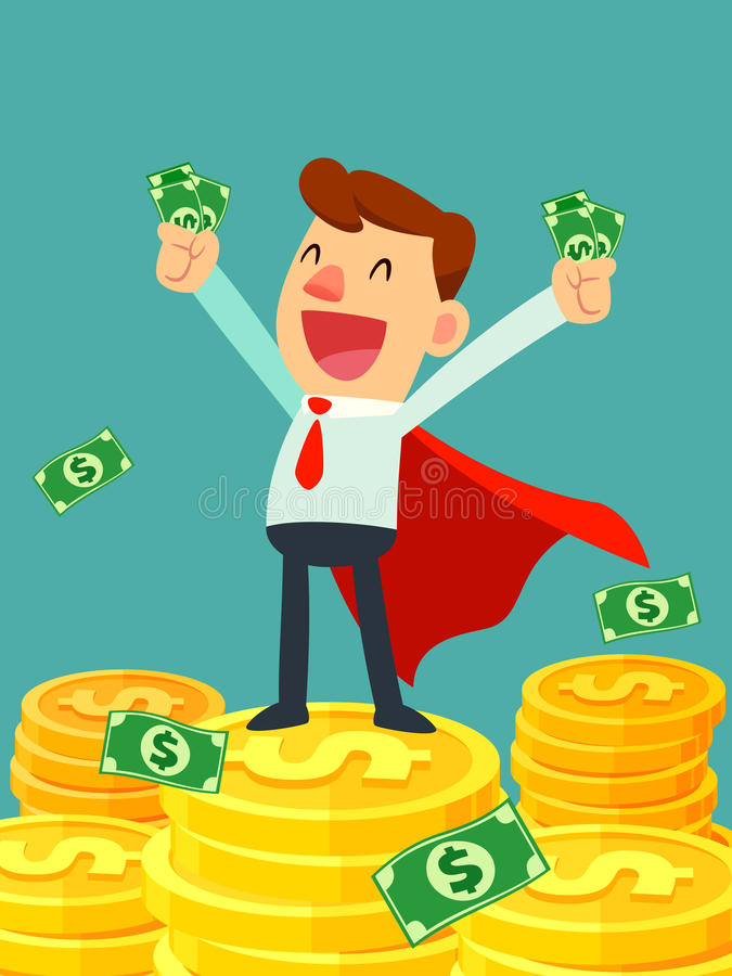 Super businessman in red cape stand on stacks of gold coins vector illustration