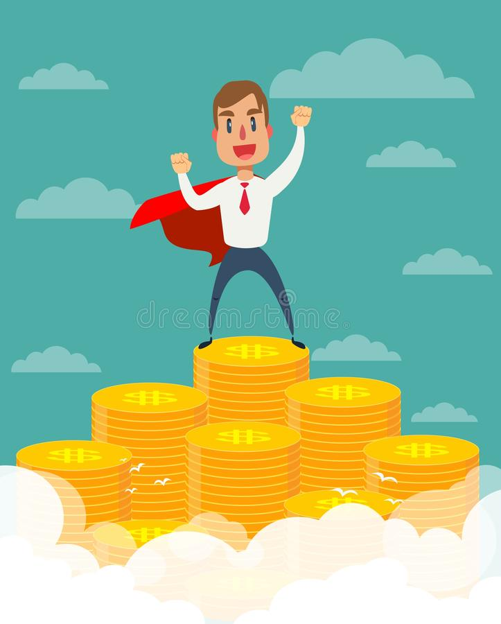 Super businessman in red cape stand on stacks of gold coins. stock illustration