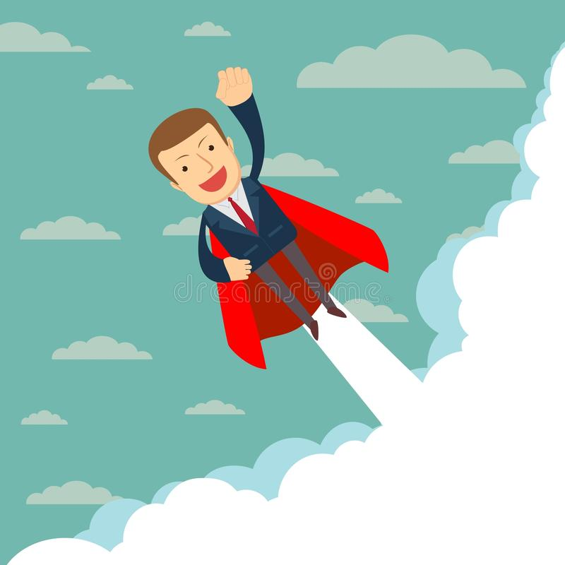 Super businessman in red capes flying upwards to his success. royalty free illustration