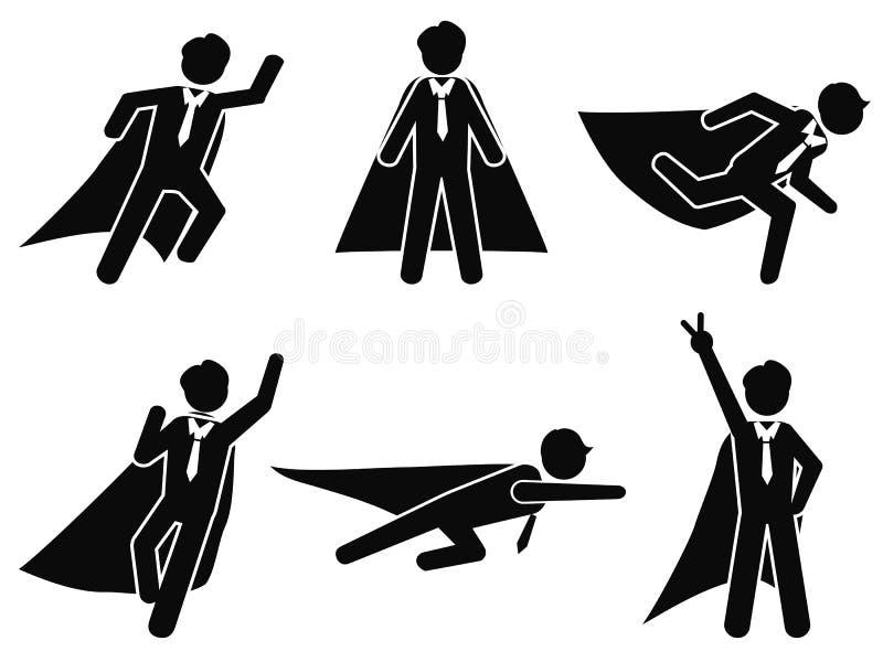 Super businessman stick figure pictogram illustration vector stock illustration