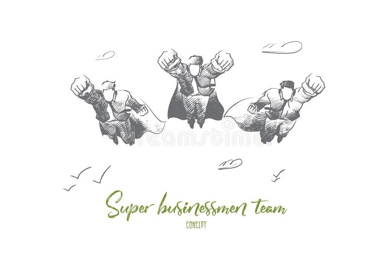 Super businessman team concept. Hand drawn isolated vector. vector illustration