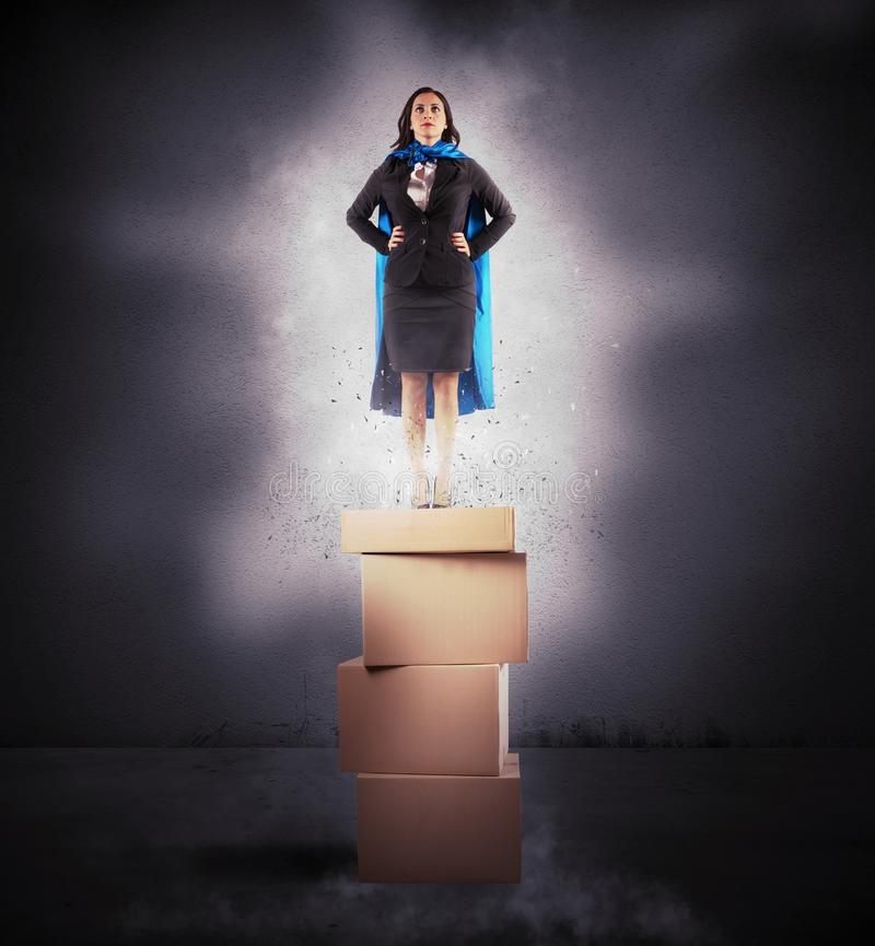 Super businesswoman stock image