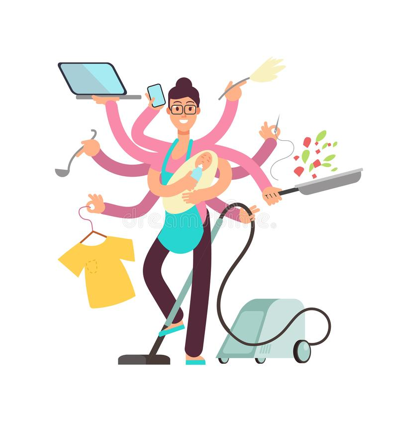 Super busy mother working and cooking simultaneously vector concept. Busy and cooking, mother with baby and work illustration stock illustration