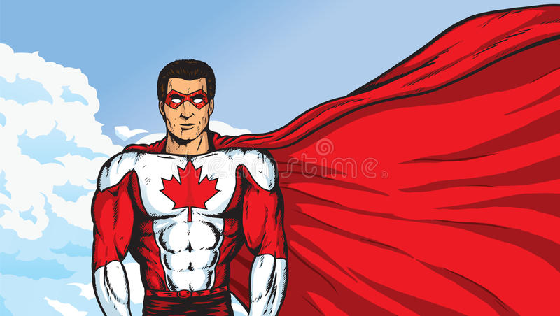 A Super Canadian. An awesome super hero who is Canadian royalty free illustration