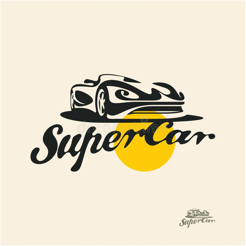 Super car with calligraphic retro title vector illustration