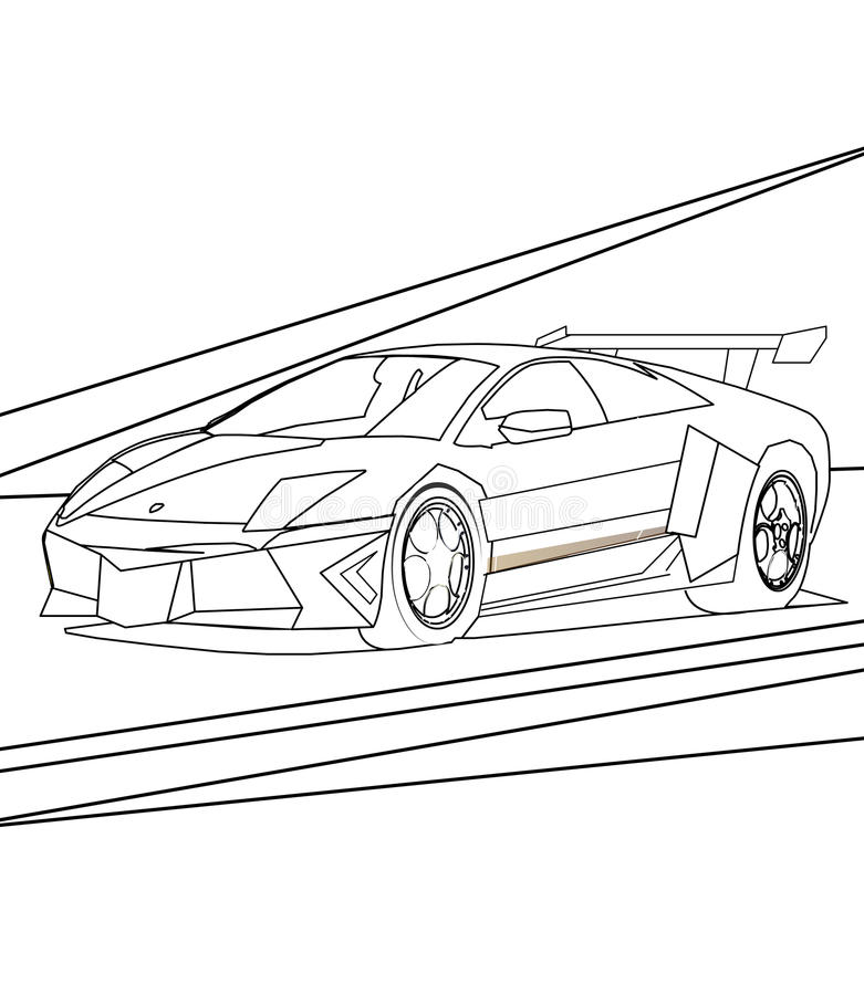 Super car coloring page. Hand drawn supercar coloring page for kids stock illustration