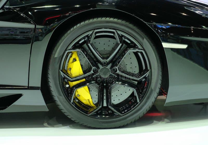 Super car disc brake. Car wheels. stock photography