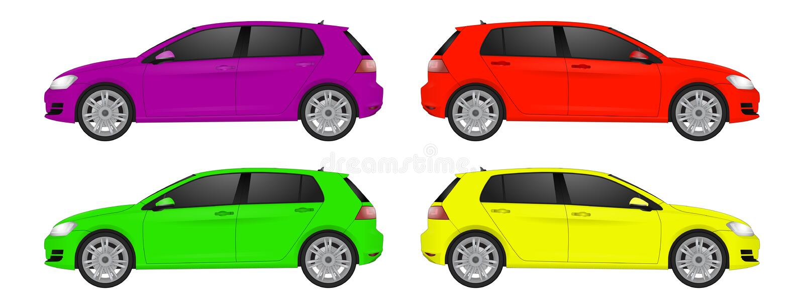 Super car realistic art side view. Generic automobile. royalty free illustration
