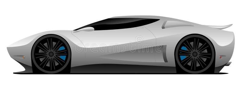 Super Car Vector Illustration. Hot aerodynamic super car vector illustration, clean lines, low profile, white glossy paint, custom dark spoke wheels, mid engine vector illustration