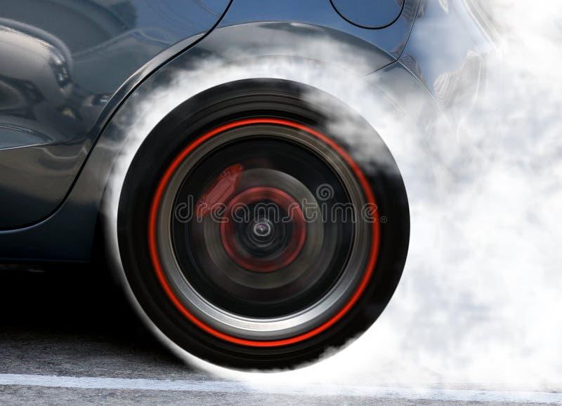 Super car wheel drifting royalty free stock image