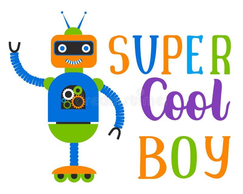 Super chłodno chłopiec P?aski charakteru robot r?wnie? zwr?ci? corel ilustracji wektora ilustracji