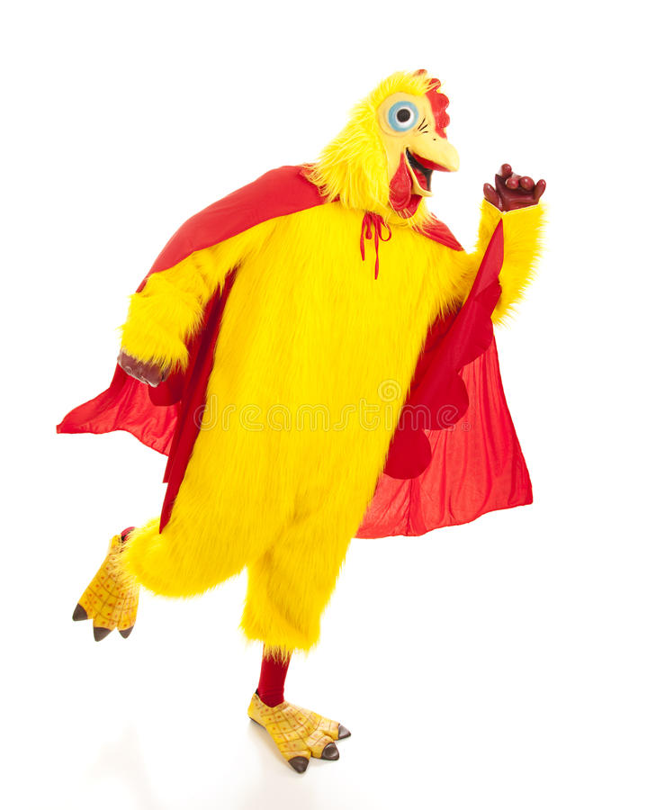 Super Chicken Takes Off. To go fight crime. Full body isolated on white royalty free stock photos