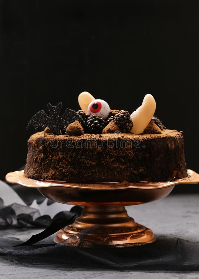 Cake with halloween decor royalty free stock images