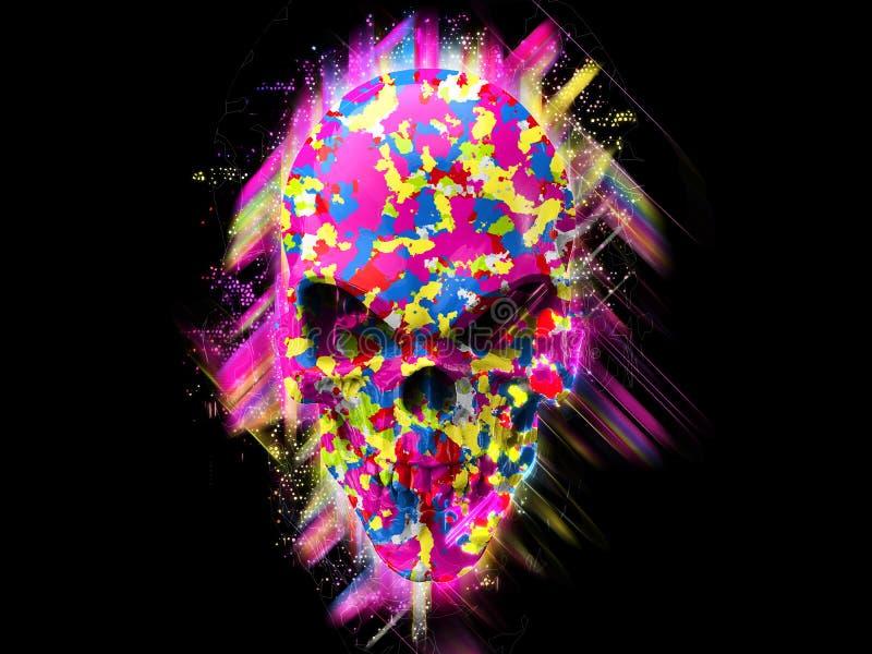 Super color skull - 3D Illustration stock illustration