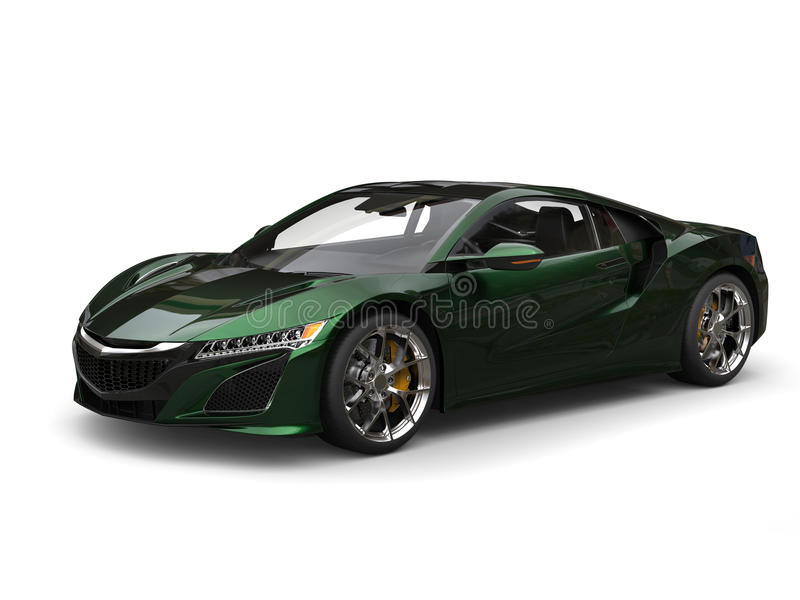 Super concept sports car - black green pearlescent paint royalty free illustration