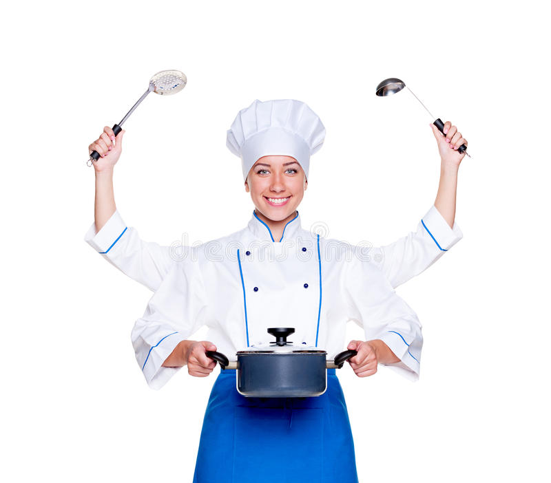Download Super cook with many hands stock photo. Image of uniform - 25656248