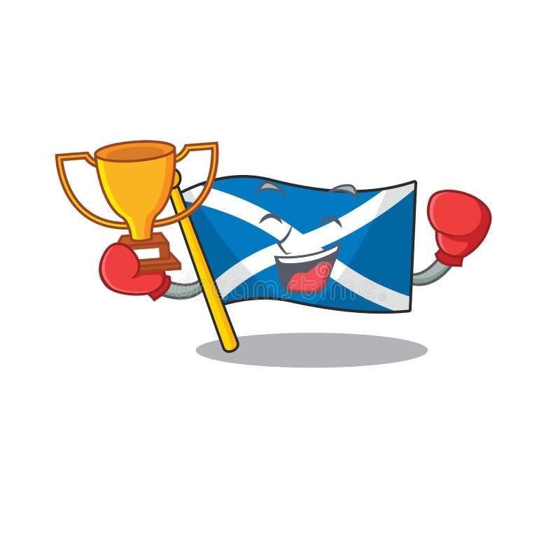 Super cool Bandiera vincitrice della boxe Scotland Scorrimento in disegno di mascotte royalty illustrazione gratis